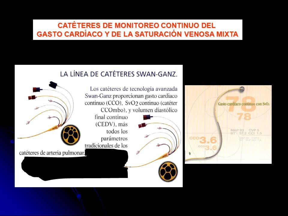 CATÉTERES DE MONITOREO CONTINUO DEL GASTO CARDÍACO Y DE LA SATURACIÓN VENOSA MIXTA