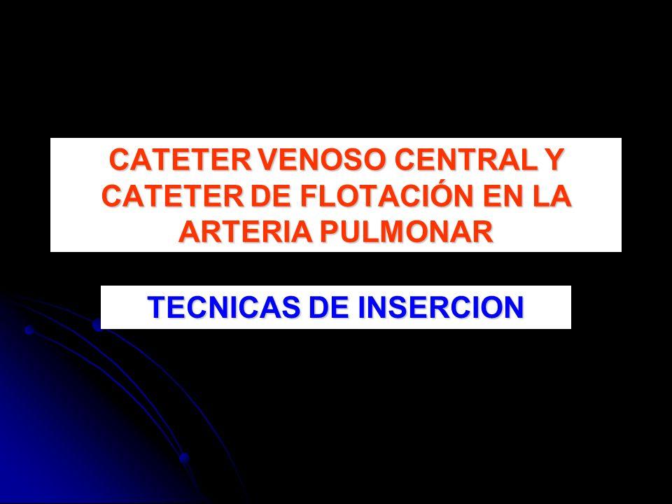TECNICAS DE INSERCION CATETER VENOSO CENTRAL Y CATETER DE FLOTACIÓN EN LA ARTERIA PULMONAR