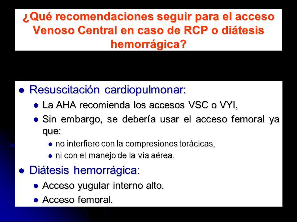 ¿Qué recomendaciones seguir para el acceso Venoso Central en caso de RCP o diátesis hemorrágica? Resuscitación cardiopulmonar: Resuscitación cardiopul