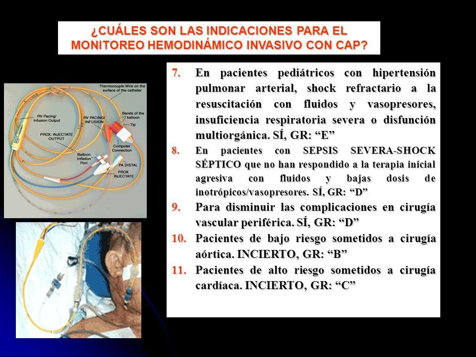 7.En pacientes pediátricos con hipertensión pulmonar arterial, shock refractario a la resuscitación con fluidos y vasopresores, insuficiencia respirat