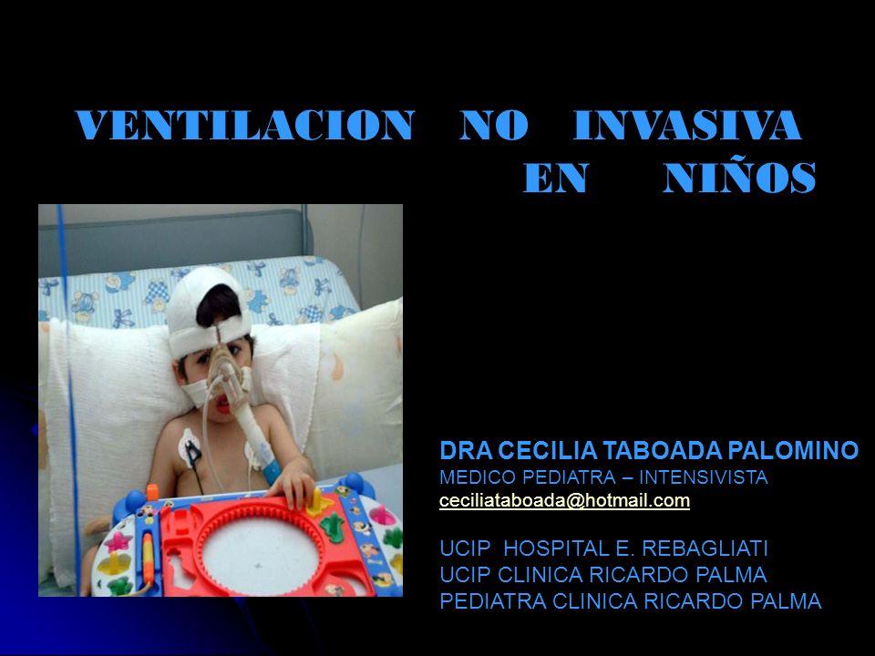 VENTILACION NO INVASIVA EN NIÑOS DRA CECILIA TABOADA PALOMINO MEDICO PEDIATRA – INTENSIVISTA ceciliataboada@hotmail.com UCIP HOSPITAL E. REBAGLIATI UC