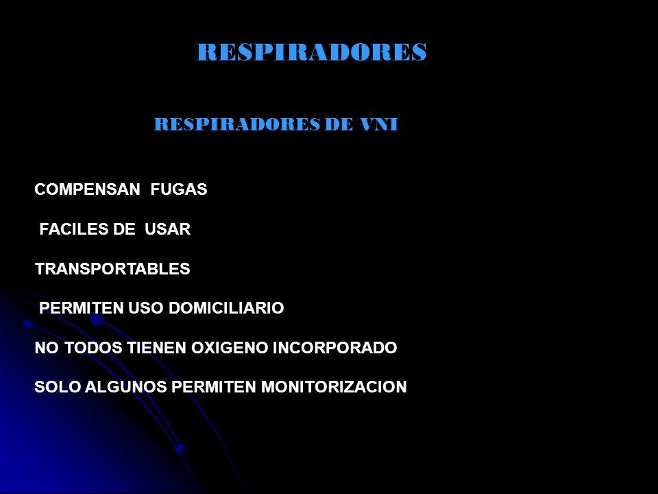 RESPIRADORES RESPIRADORES DE VNI COMPENSAN FUGAS FACILES DE USAR TRANSPORTABLES PERMITEN USO DOMICILIARIO NO TODOS TIENEN OXIGENO INCORPORADO SOLO ALG