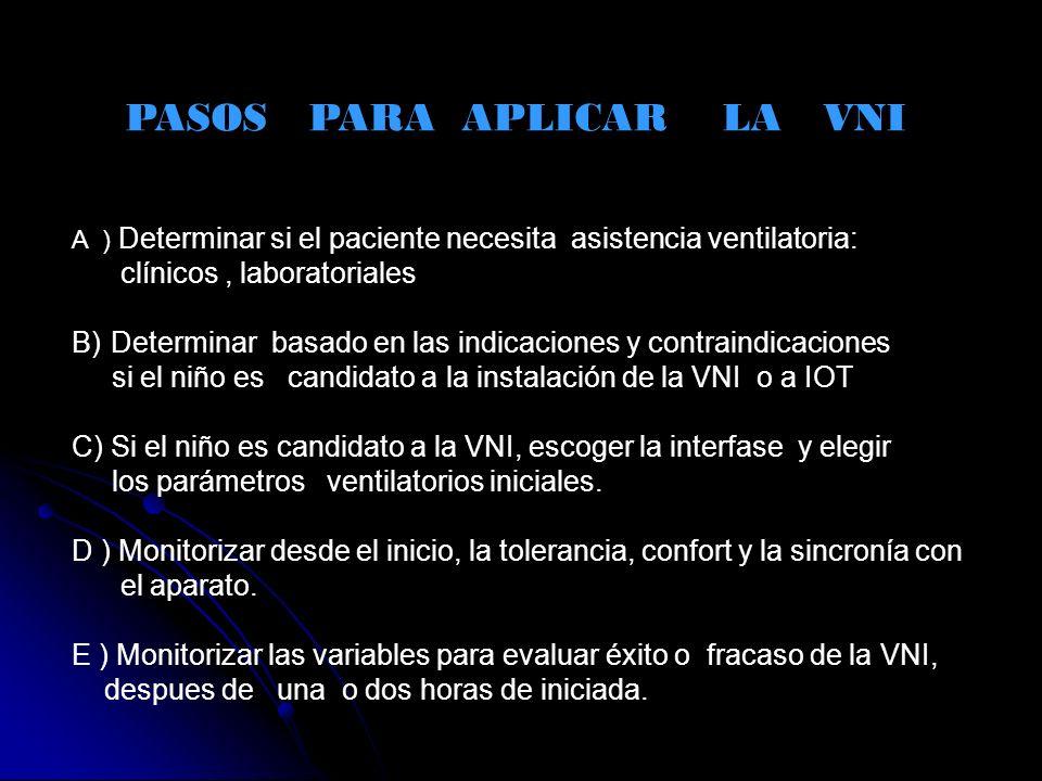 PASOS PARA APLICAR LA VNI A ) Determinar si el paciente necesita asistencia ventilatoria: clínicos, laboratoriales B)Determinar basado en las indicaci