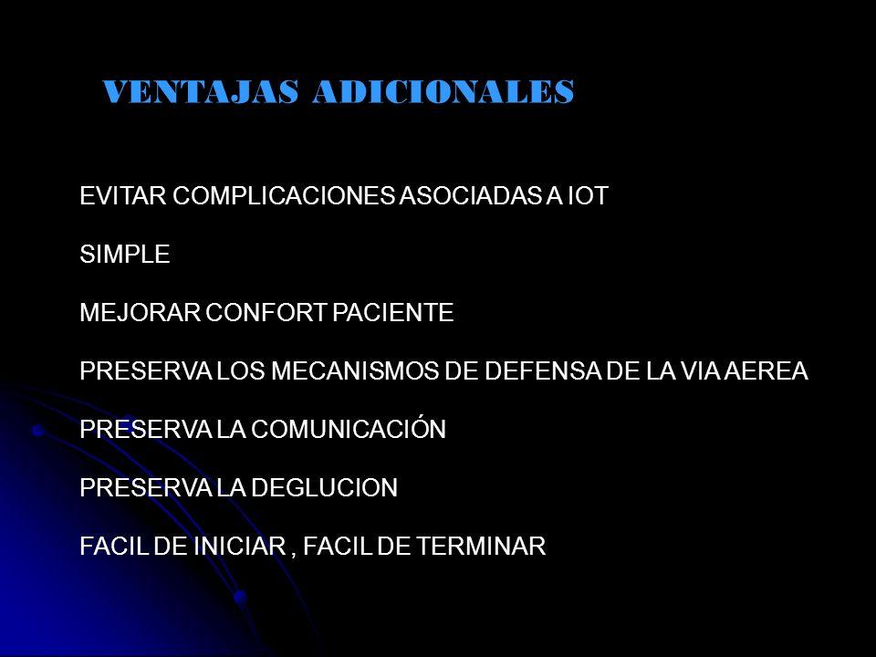 VENTAJAS ADICIONALES EVITAR COMPLICACIONES ASOCIADAS A IOT SIMPLE MEJORAR CONFORT PACIENTE PRESERVA LOS MECANISMOS DE DEFENSA DE LA VIA AEREA PRESERVA