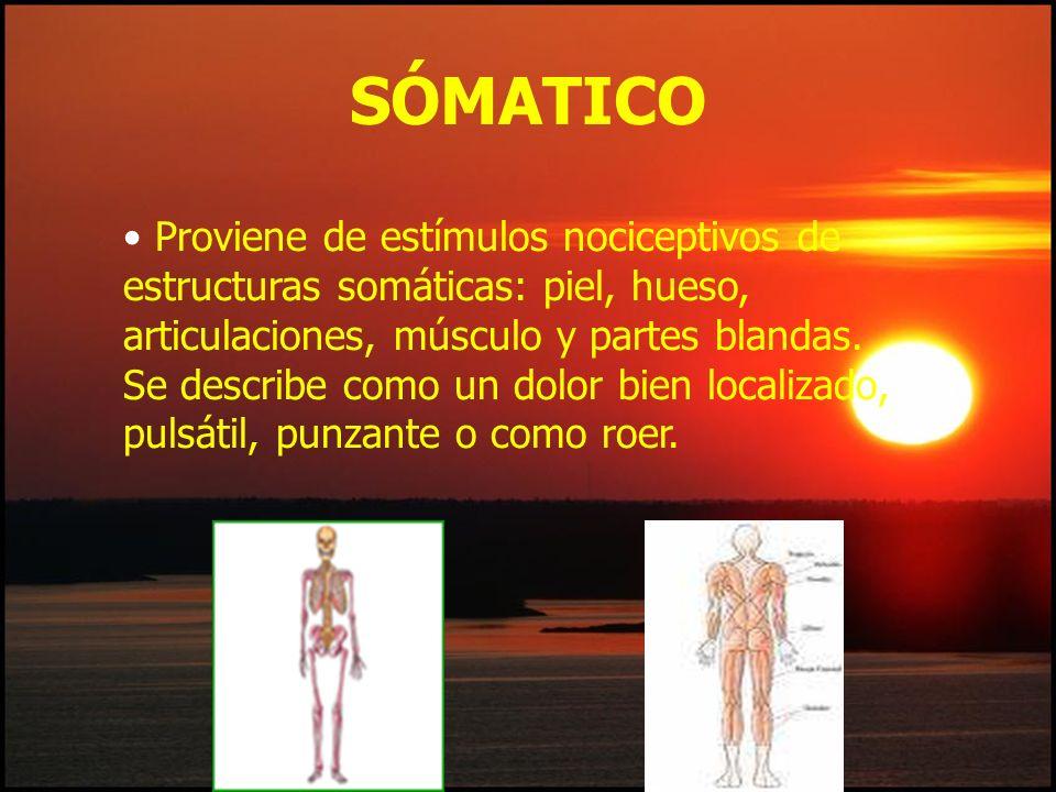 Proviene de estímulos nociceptivos de estructuras somáticas: piel, hueso, articulaciones, músculo y partes blandas. Se describe como un dolor bien loc