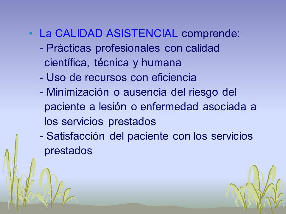 La CALIDAD ASISTENCIAL comprende: - Prácticas profesionales con calidad científica, técnica y humana - Uso de recursos con eficiencia - Minimización o