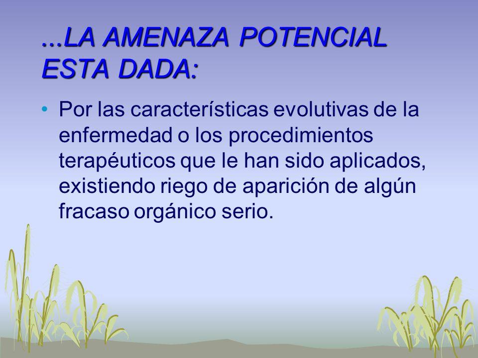...LA AMENAZA POTENCIAL ESTA DADA: Por las características evolutivas de la enfermedad o los procedimientos terapéuticos que le han sido aplicados, ex