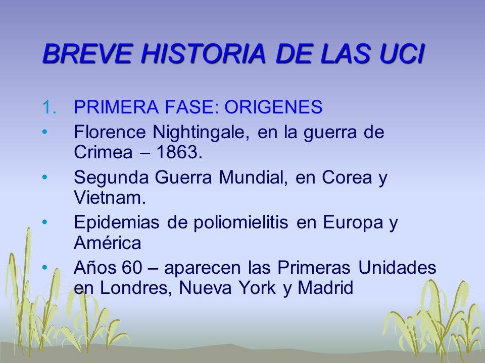BREVE HISTORIA DE LAS UCI 1.PRIMERA FASE: ORIGENES Florence Nightingale, en la guerra de Crimea – 1863. Segunda Guerra Mundial, en Corea y Vietnam. Ep