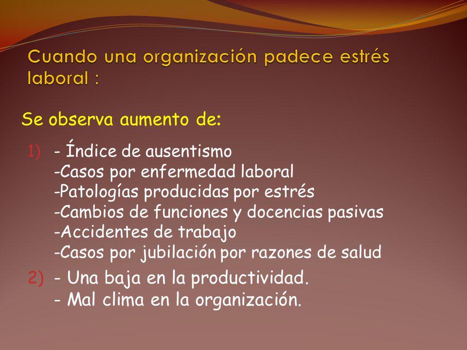 1) - Índice de ausentismo -Casos por enfermedad laboral -Patologías producidas por estrés -Cambios de funciones y docencias pasivas -Accidentes de tra