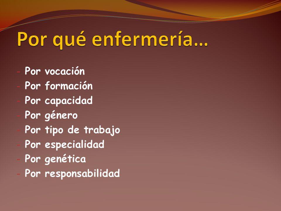 - Por vocación - Por formación - Por capacidad - Por género - Por tipo de trabajo - Por especialidad - Por genética - Por responsabilidad