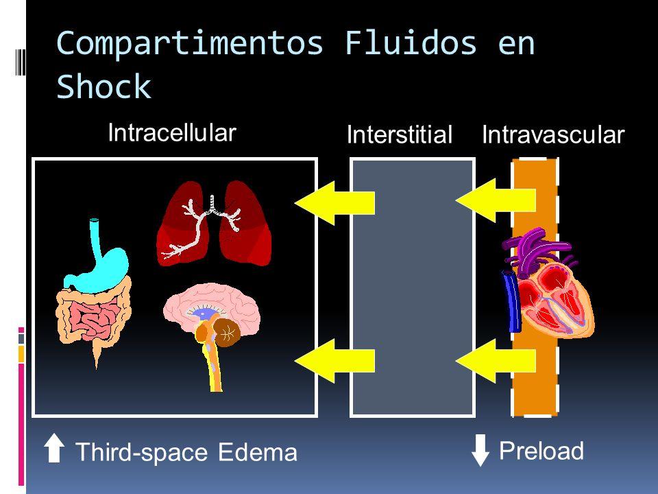 Compartimentos Fluidos en Shock Intracellular InterstitialIntravascular Preload Third-space Edema