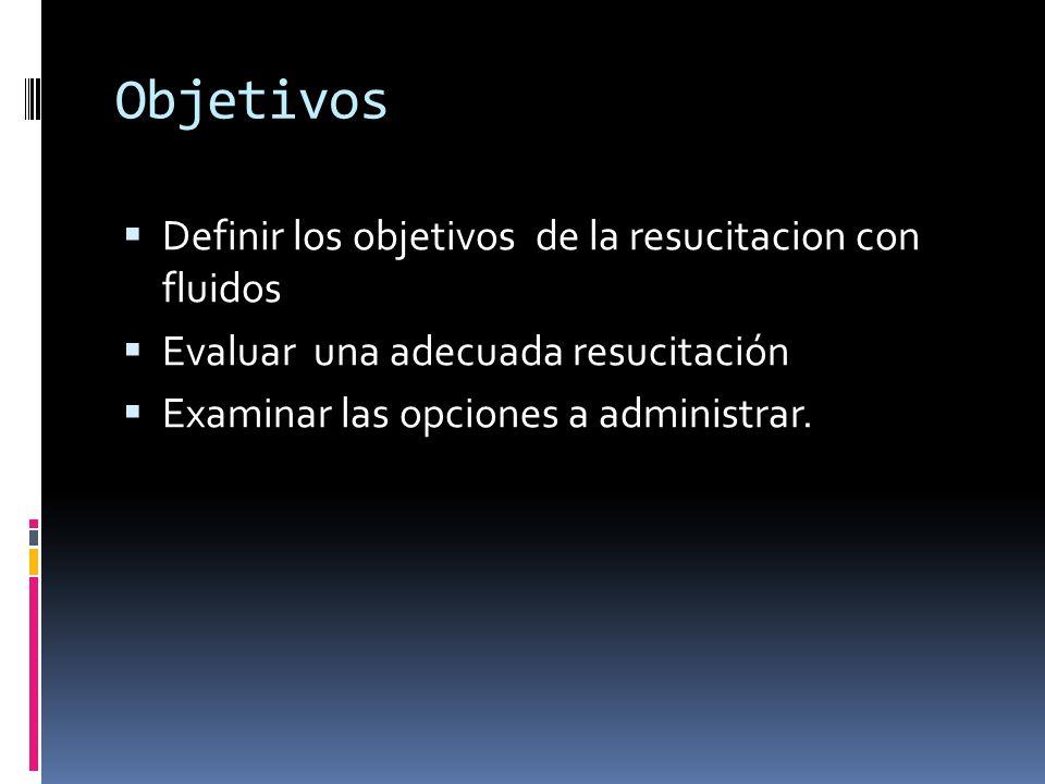 Objetivos Definir los objetivos de la resucitacion con fluidos Evaluar una adecuada resucitación Examinar las opciones a administrar.