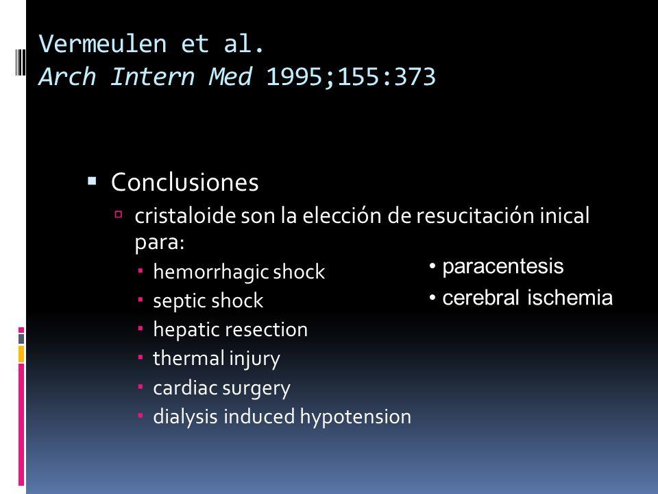Vermeulen et al. Arch Intern Med 1995;155:373 Conclusiones cristaloide son la elección de resucitación inical para: hemorrhagic shock septic shock hep