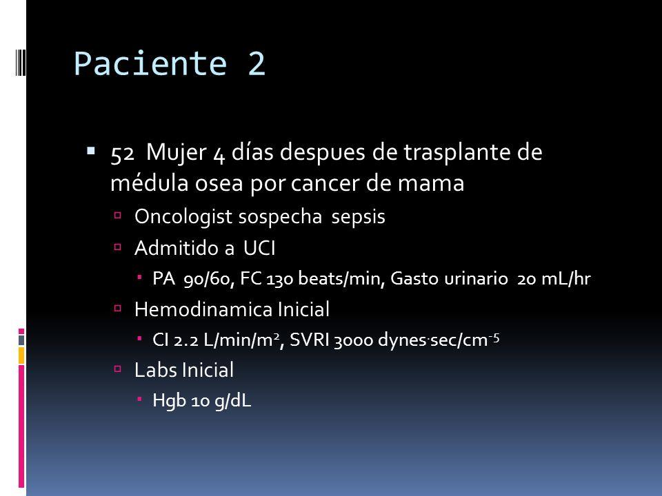 Paciente 2 52 Mujer 4 días despues de trasplante de médula osea por cancer de mama Oncologist sospecha sepsis Admitido a UCI PA 90/60, FC 130 beats/mi