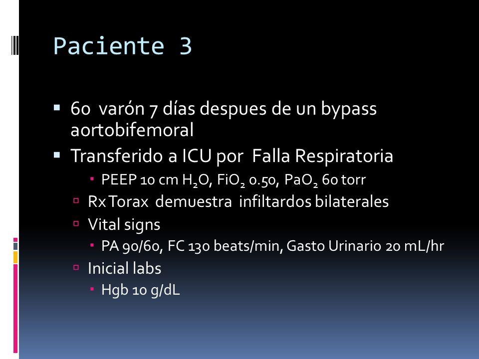 Paciente 3 60 varón 7 días despues de un bypass aortobifemoral Transferido a ICU por Falla Respiratoria PEEP 10 cm H 2 O, FiO 2 0.50, PaO 2 60 torr Rx