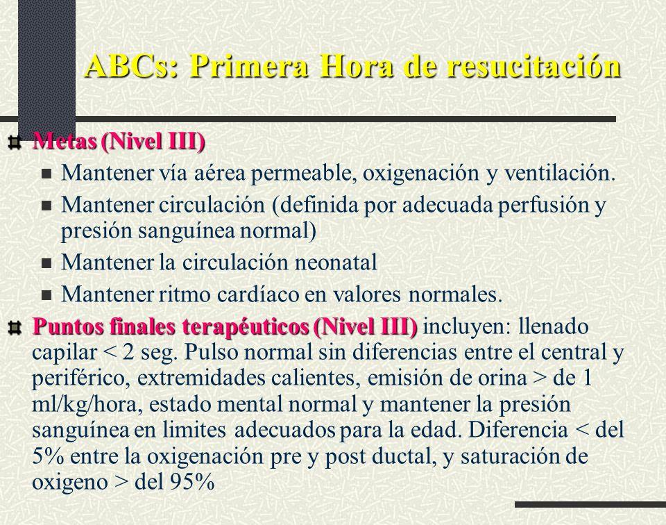 ABCs: Primera Hora de resucitación Metas (Nivel III) Mantener vía aérea permeable, oxigenación y ventilación. Mantener circulación (definida por adecu