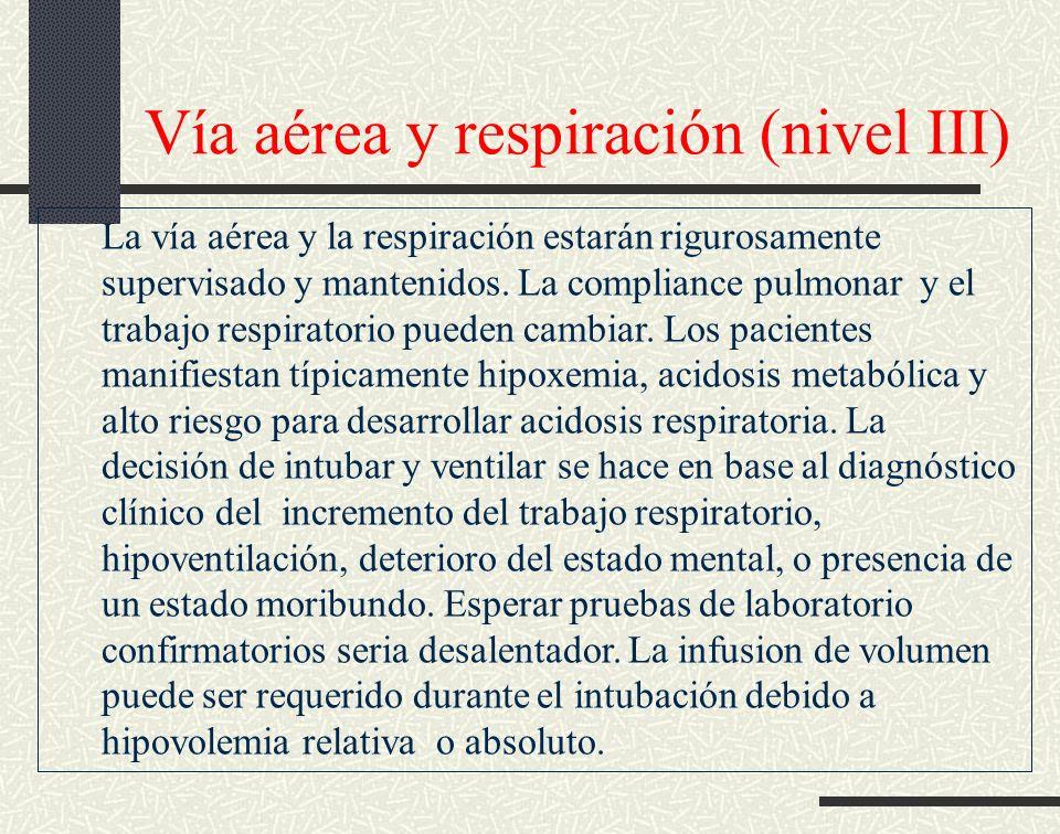 Vía aérea y respiración (nivel III) La vía aérea y la respiración estarán rigurosamente supervisado y mantenidos. La compliance pulmonar y el trabajo