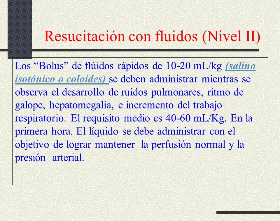 Resucitación con fluidos (Nivel II) Los Bolus de flúidos rápidos de 10-20 mL/kg (salino isotónico o coloides) se deben administrar mientras se observa