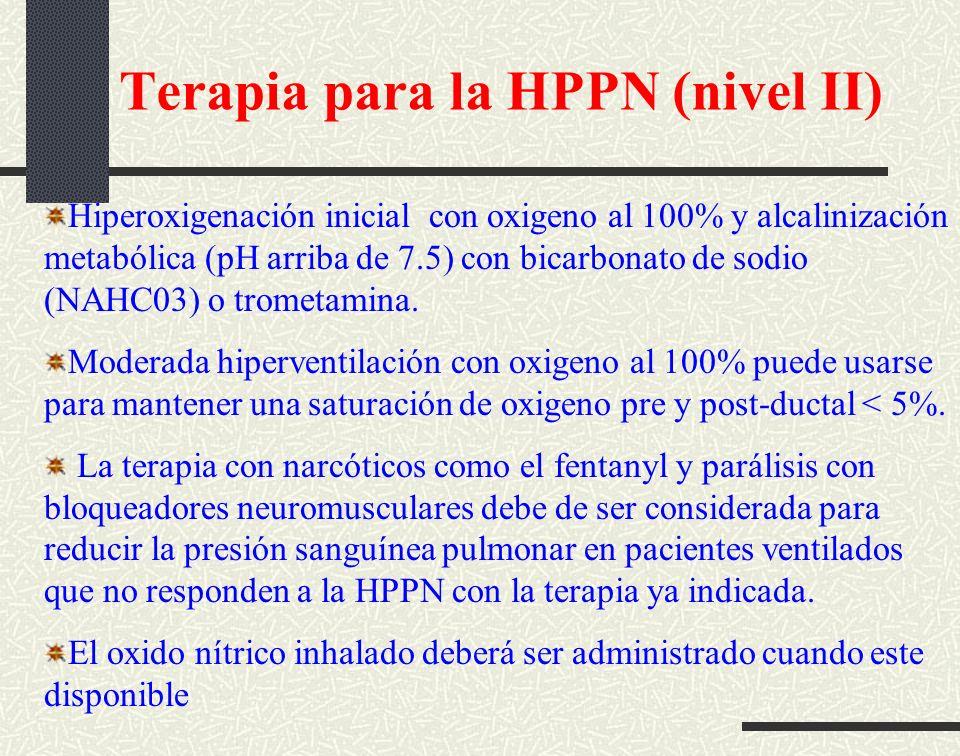 Terapia para la HPPN (nivel II) Hiperoxigenación inicial con oxigeno al 100% y alcalinización metabólica (pH arriba de 7.5) con bicarbonato de sodio (