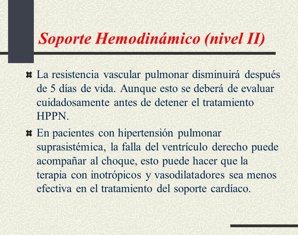 Soporte Hemodinámico (nivel II) La resistencia vascular pulmonar disminuirá después de 5 días de vida. Aunque esto se deberá de evaluar cuidadosamente
