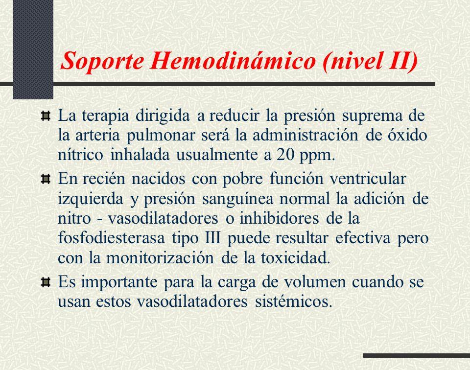 Soporte Hemodinámico (nivel II) La terapia dirigida a reducir la presión suprema de la arteria pulmonar será la administración de óxido nítrico inhala