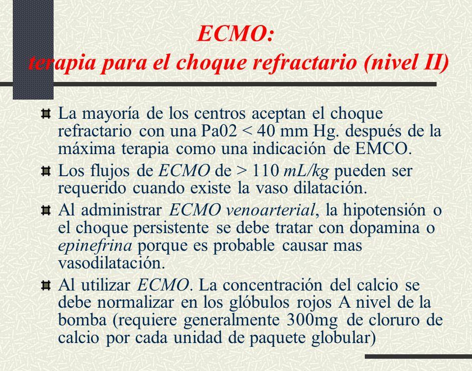 ECMO: terapia para el choque refractario (nivel II) La mayoría de los centros aceptan el choque refractario con una Pa02 < 40 mm Hg. después de la máx