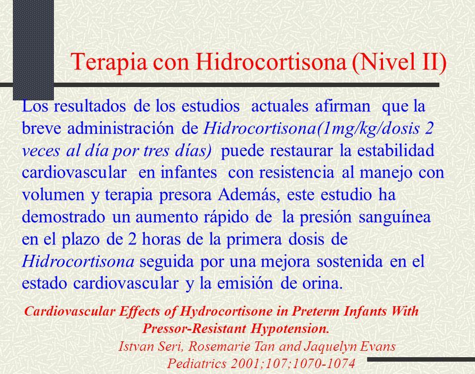 Terapia con Hidrocortisona (Nivel II) Los resultados de los estudios actuales afirman que la breve administración de Hidrocortisona(1mg/kg/dosis 2 vec