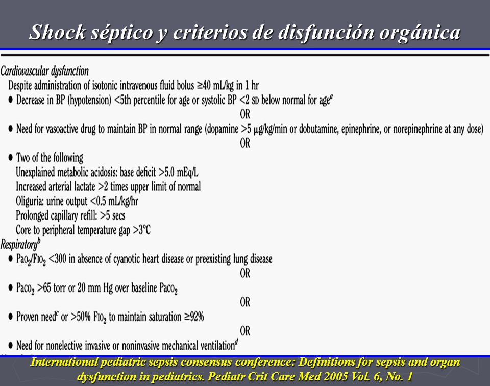 International pediatric sepsis consensus conference: Definitions for sepsis and organ dysfunction in pediatrics.