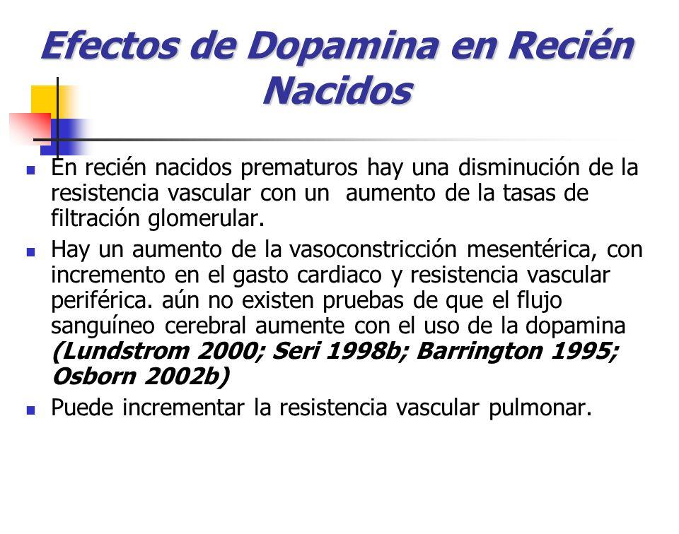 Efectos de Dopamina en Recién Nacidos En recién nacidos prematuros hay una disminución de la resistencia vascular con un aumento de la tasas de filtra
