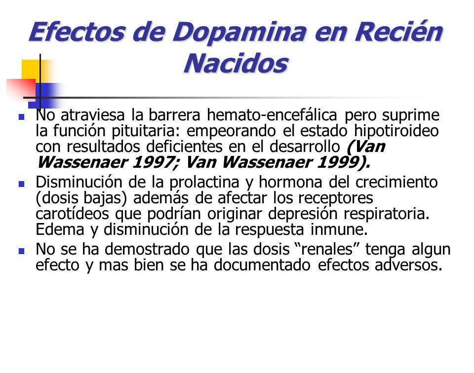 Efectos de Dopamina en Recién Nacidos No atraviesa la barrera hemato-encefálica pero suprime la función pituitaria: empeorando el estado hipotiroideo