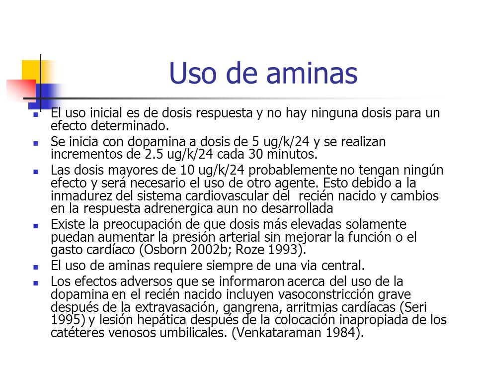 Uso de aminas El uso inicial es de dosis respuesta y no hay ninguna dosis para un efecto determinado. Se inicia con dopamina a dosis de 5 ug/k/24 y se