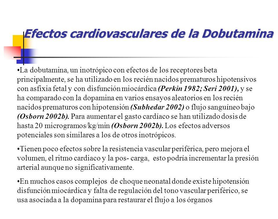 Efectos cardiovasculares de la Dobutamina La dobutamina, un inotrópico con efectos de los receptores beta principalmente, se ha utilizado en los recié