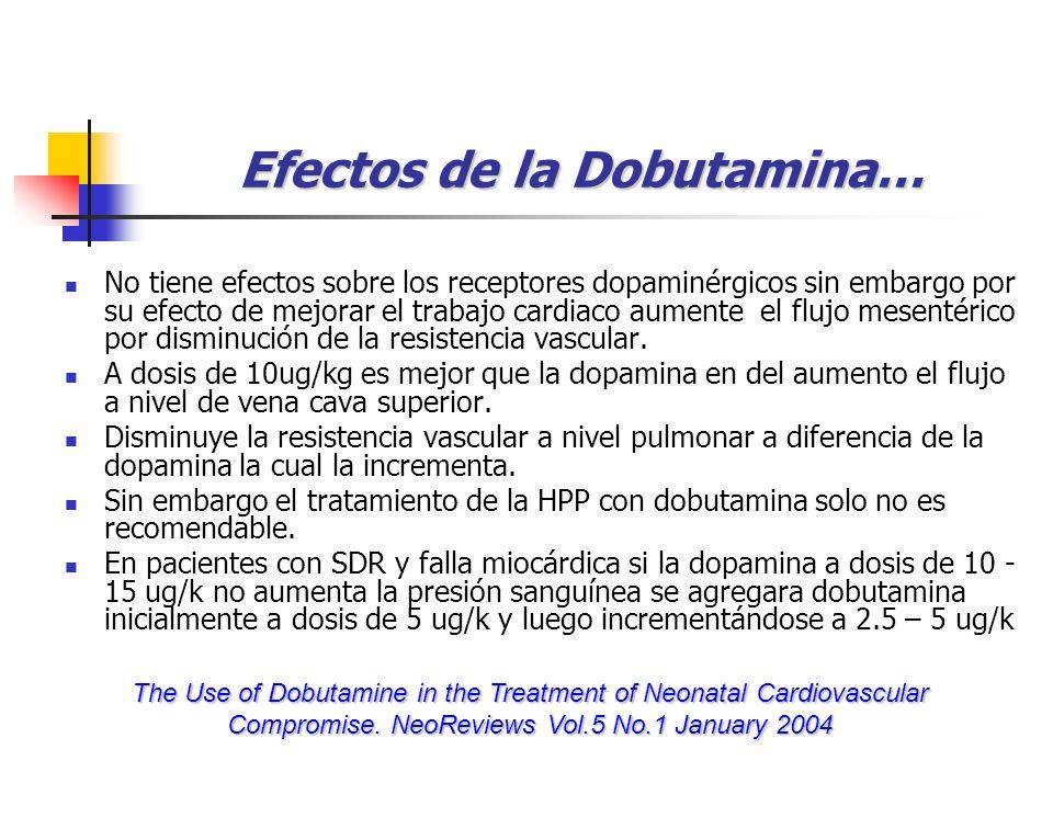 Efectos de la Dobutamina… No tiene efectos sobre los receptores dopaminérgicos sin embargo por su efecto de mejorar el trabajo cardiaco aumente el flu
