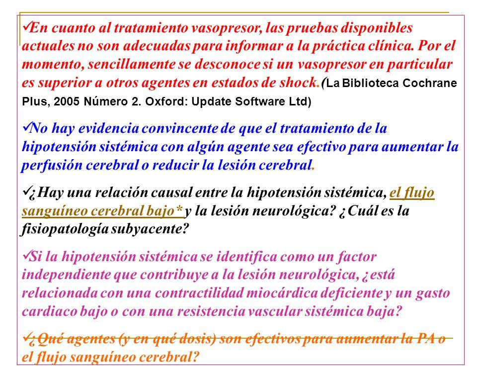 En cuanto al tratamiento vasopresor, las pruebas disponibles actuales no son adecuadas para informar a la práctica clínica. Por el momento, sencillame