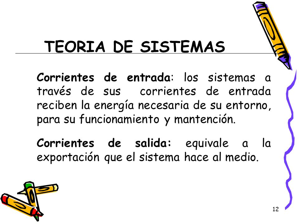 12 TEORIA DE SISTEMAS Corrientes de entrada: los sistemas a través de sus corrientes de entrada reciben la energía necesaria de su entorno, para su fu