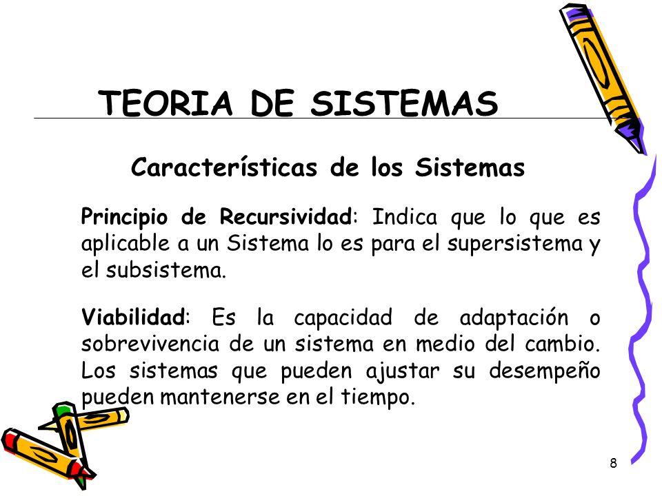 8 TEORIA DE SISTEMAS Características de los Sistemas Principio de Recursividad: Indica que lo que es aplicable a un Sistema lo es para el supersistema