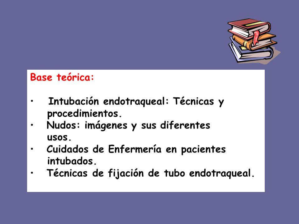 Base teórica: Intubación endotraqueal: Técnicas y procedimientos. Nudos: imágenes y sus diferentes usos. Cuidados de Enfermería en pacientes intubados