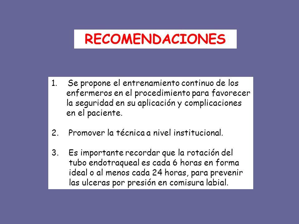 1. Se propone el entrenamiento continuo de los enfermeros en el procedimiento para favorecer la seguridad en su aplicación y complicaciones en el paci