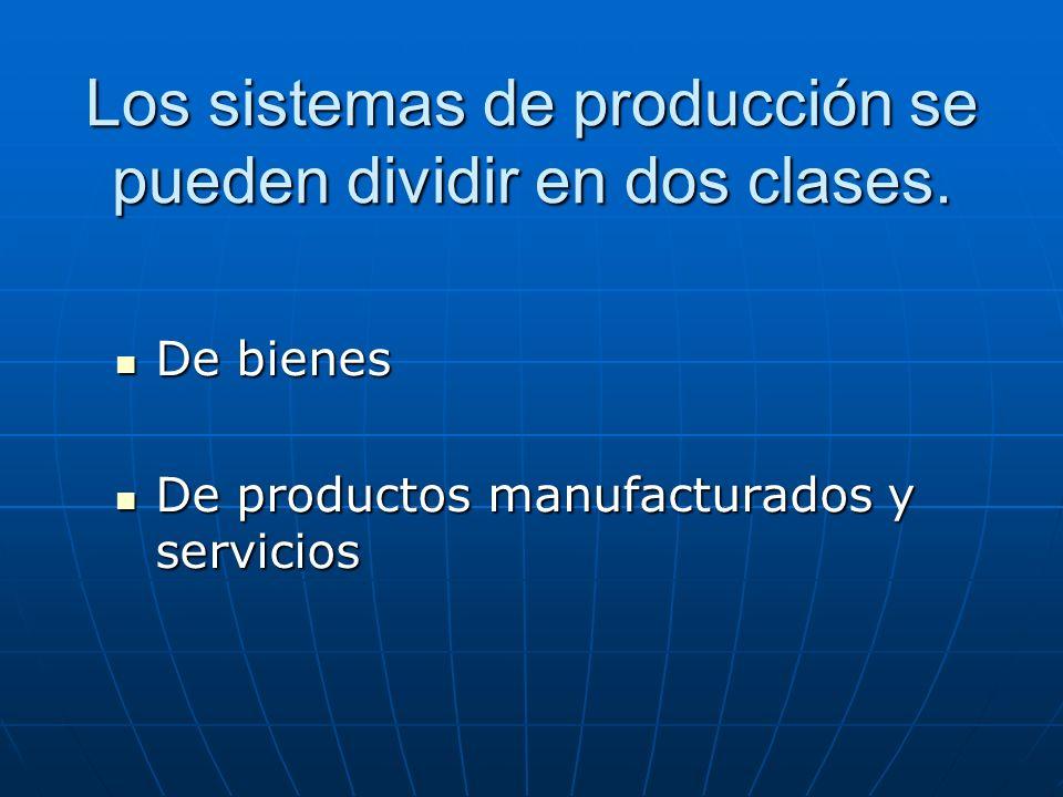 Los sistemas de producción se pueden dividir en dos clases. De bienes De bienes De productos manufacturados y servicios De productos manufacturados y