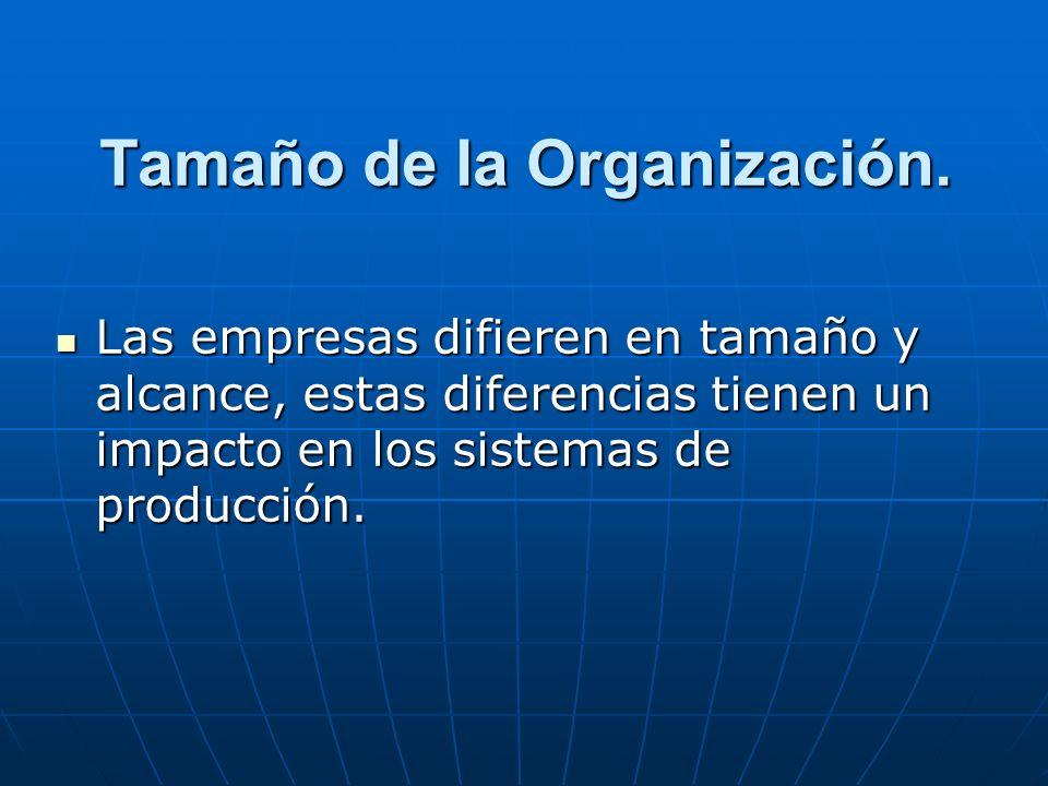 Tamaño de la Organización. Las empresas difieren en tamaño y alcance, estas diferencias tienen un impacto en los sistemas de producción. Las empresas