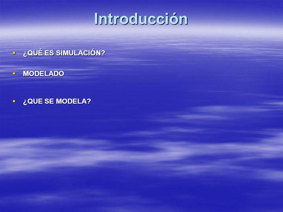 Introducción ¿QUÉ ES SIMULACIÓN? ¿QUÉ ES SIMULACIÓN? MODELADO MODELADO ¿QUE SE MODELA? ¿QUE SE MODELA?