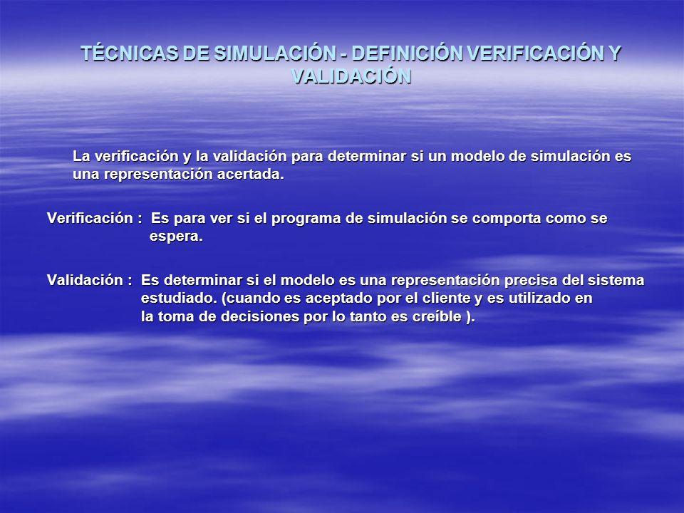 TÉCNICAS DE SIMULACIÓN - DEFINICIÓN VERIFICACIÓN Y VALIDACIÓN La verificación y la validación para determinar si un modelo de simulación es una repres