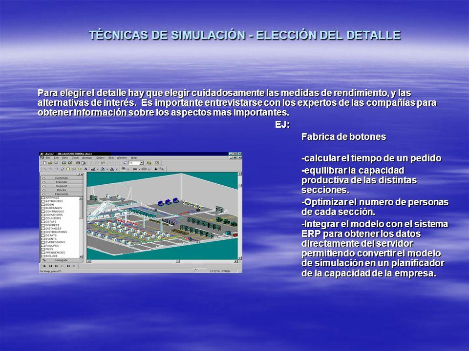 TÉCNICAS DE SIMULACIÓN - ELECCIÓN DEL DETALLE Para elegir el detalle hay que elegir cuidadosamente las medidas de rendimiento, y las alternativas de i