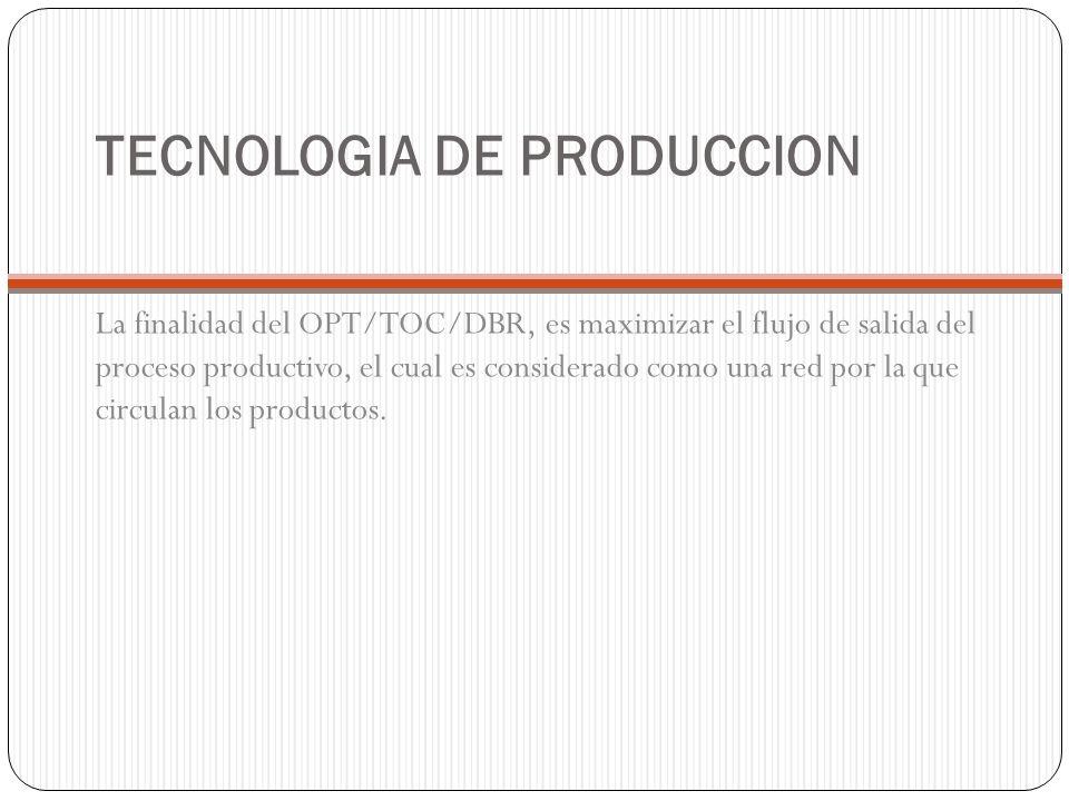 TECNOLOGIA DE PRODUCCION La finalidad del OPT/TOC/DBR, es maximizar el flujo de salida del proceso productivo, el cual es considerado como una red por