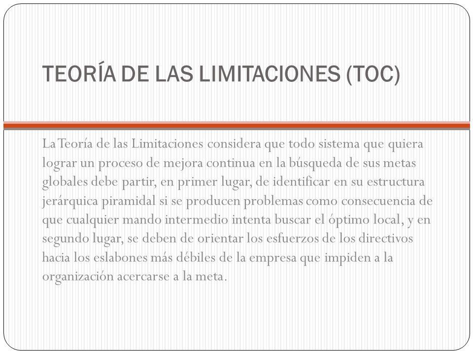 TEORÍA DE LAS LIMITACIONES (TOC) La Teoría de las Limitaciones considera que todo sistema que quiera lograr un proceso de mejora continua en la búsque