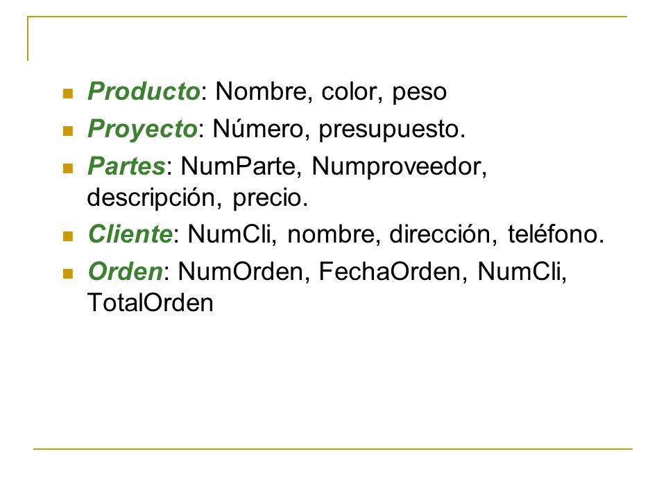Producto: Nombre, color, peso Proyecto: Número, presupuesto. Partes: NumParte, Numproveedor, descripción, precio. Cliente: NumCli, nombre, dirección,