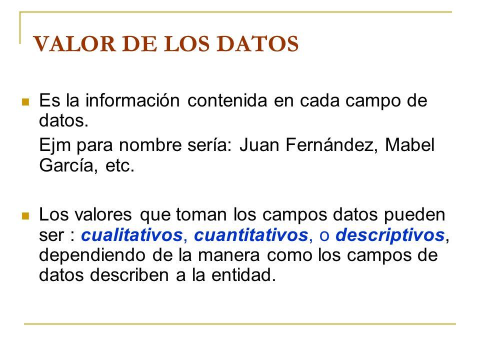 VALOR DE LOS DATOS Es la información contenida en cada campo de datos. Ejm para nombre sería: Juan Fernández, Mabel García, etc. Los valores que toman