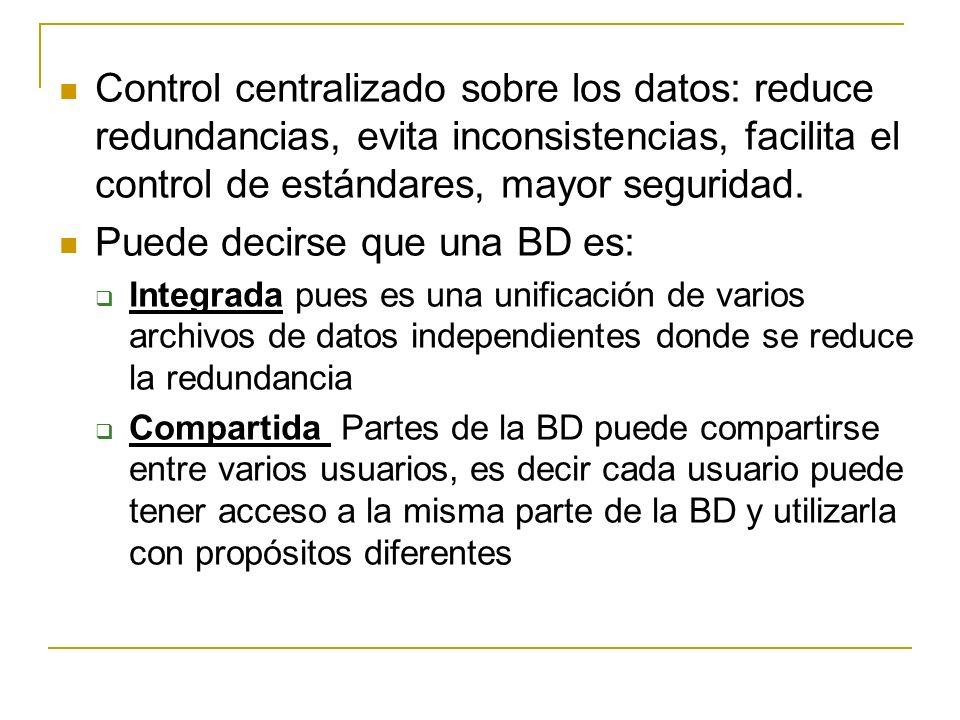 Control centralizado sobre los datos: reduce redundancias, evita inconsistencias, facilita el control de estándares, mayor seguridad. Puede decirse qu
