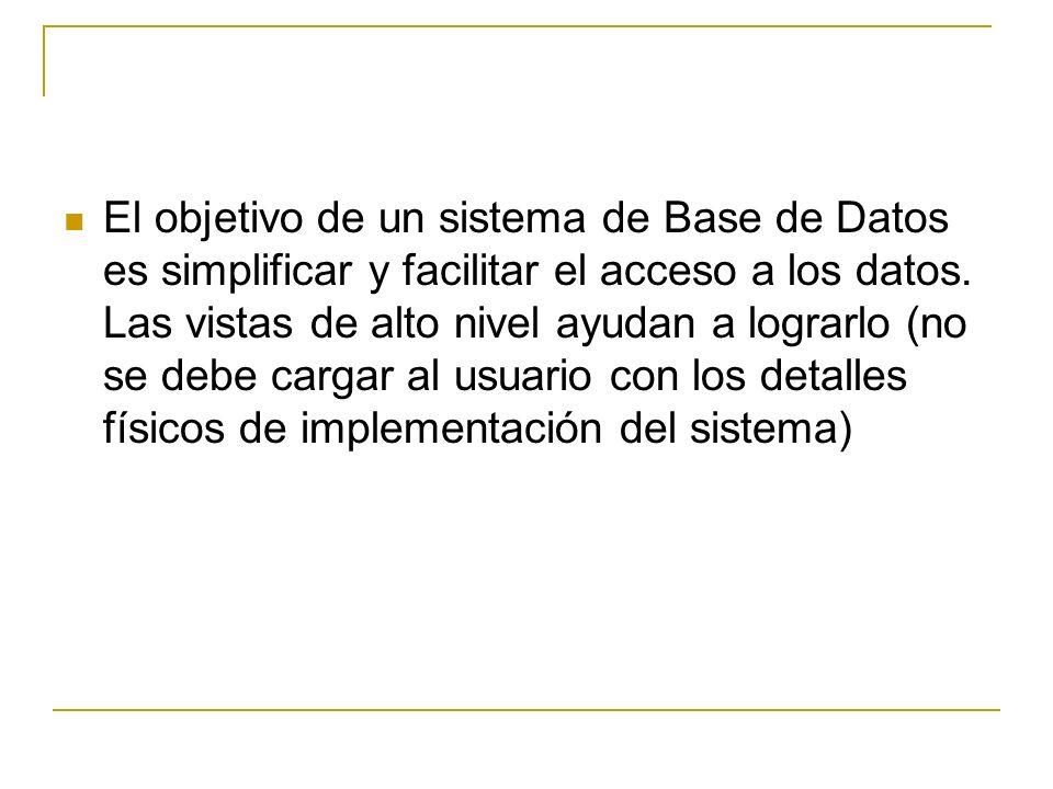 El objetivo de un sistema de Base de Datos es simplificar y facilitar el acceso a los datos. Las vistas de alto nivel ayudan a lograrlo (no se debe ca