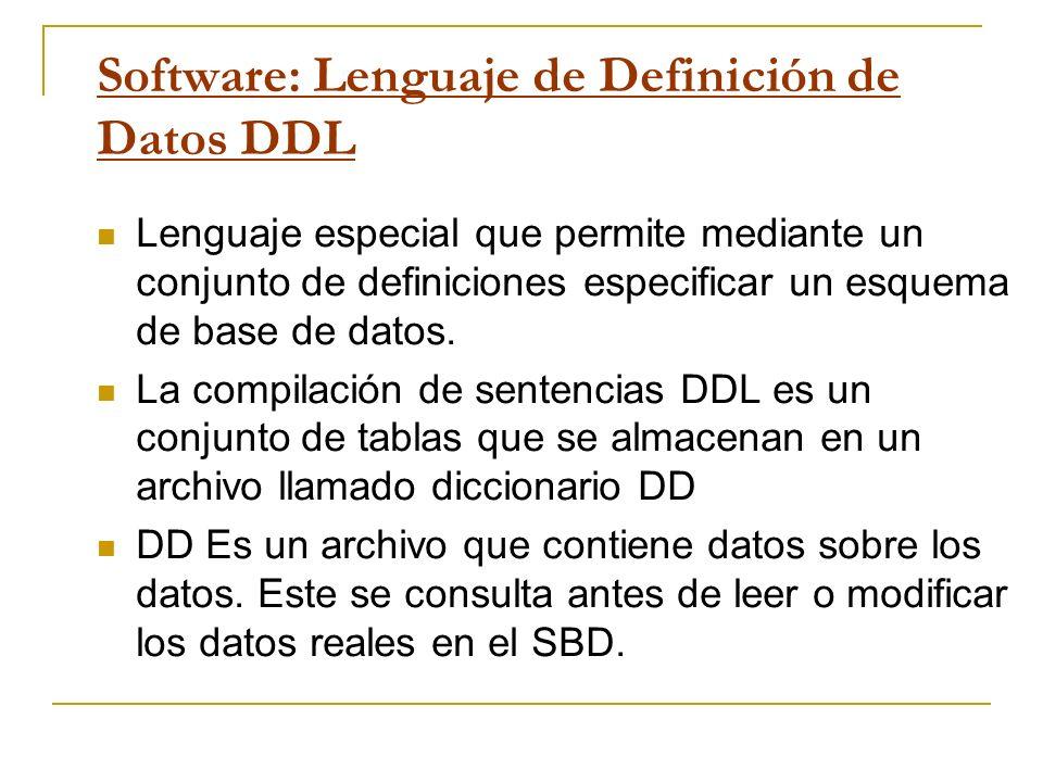 Software: Lenguaje de Definición de Datos DDL Lenguaje especial que permite mediante un conjunto de definiciones especificar un esquema de base de dat